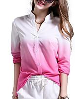 Недорогие -Жен. Рубашка Классический Контрастных цветов