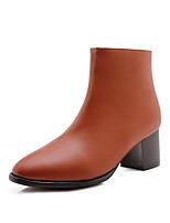 Недорогие -Жен. Замша Наступила зима Минимализм Ботинки На толстом каблуке Заостренный носок Сапоги до середины икры Черный / Серый / Темно-коричневый