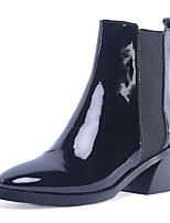 Недорогие -Жен. Полиуретан Наступила зима Минимализм Ботинки На толстом каблуке Круглый носок Ботинки Черный / Винный