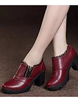Недорогие -Жен. Полиуретан Осень Ботинки На толстом каблуке Ботинки Черный / Винный