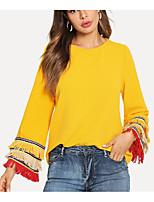 Недорогие -женская хлопчатобумажная футболка - цветной круглый шею