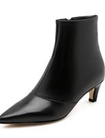 Недорогие -Жен. Наппа Leather Осень Ботинки На шпильке Закрытый мыс Ботинки Черный / Бежевый / Серый