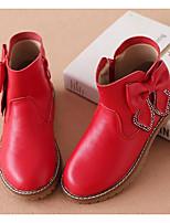 Недорогие -Девочки Обувь Кожа Зима Армейские ботинки Ботинки Бант / Молнии для Дети Черный / Красный / Розовый