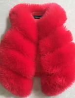 Недорогие -Дети / Дети (1-4 лет) Девочки Классический Однотонный Без рукавов Искусственный мех Куртка / пальто Лиловый 90
