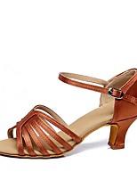 abordables -Femme Chaussures Latines Satin Talon Talon Cubain Personnalisables Chaussures de danse Noir / Chameau / Marron