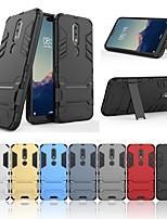 Недорогие -Кейс для Назначение Nokia Nokia X6 Защита от удара / со стендом Кейс на заднюю панель Однотонный / броня Твердый ПК для Nokia X6