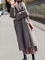 Недорогие -Жен. На выход Длинная Куртка, Однотонный С отворотом Длинный рукав Полиэстер Серый M / L / XL
