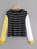 abordables -t-shirt femme en coton lâche - col rond rayé