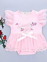 Недорогие -малыш Девочки Активный / Классический Для вечеринок / Повседневные Цветочный принт Бант / Пряжка / Рисунок Короткие рукава Хлопок Bodysuit Розовый