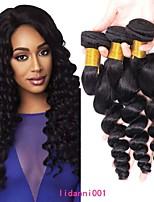 Недорогие -3 Связки Бразильские волосы Евро-Азиатские волосы Свободные волны 8A Натуральные волосы Необработанные натуральные волосы Подарки Косплей Костюмы Головные уборы 8-28 дюймовый Естественный цвет
