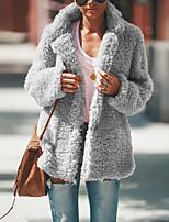 Недорогие -Жен. Повседневные Уличный стиль Обычная Искусственное меховое пальто, Однотонный Отложной Длинный рукав Мех осла Темно-серый / Верблюжий / Светло-серый L / XL / XXL