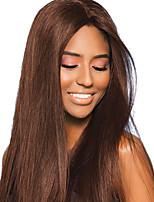 Недорогие -Remy Лента спереди Парик Бразильские волосы Прямой Парик 150% Плотность волос с детскими волосами Шелковистость Природные волосы Коричневый Жен. Длинные Парики из натуральных волос на кружевной основе