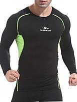 billiga -UABRAV Herr Rund hals Lappverk T-shirt för jogging sporter Färgblock Överdelar För Löpning, Fitness, Träna Långärmad Sportkläder Andningsfunktion, Snabb tork, Svettavvisande Elastisk Smal - Svart