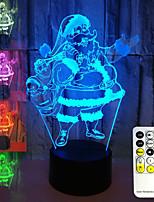 Недорогие -brelong 3d визуальный ночной свет Санта-Клаус 16-цветное дистанционное управление с сенсорным переключателем 1 шт.