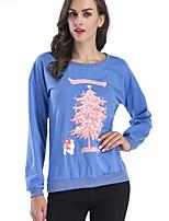 abordables -t-shirt ample en coton pour femme - lettre / floral col rond