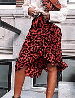 Недорогие -женские коленчатые юбки - леопард