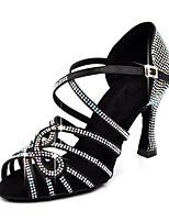 abordables -Femme Chaussures Latines Matière synthétique Sandale / Talon Strass / Boucle Talon Bobine Personnalisables Chaussures de danse Noir