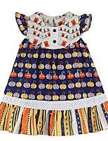 baratos -Infantil / Bébé Para Meninas Activo / Doce Diário / Feriado Plantas / Floral Pregueado / Estampado Sem Manga Altura dos Joelhos Algodão / Elastano Vestido Arco-íris