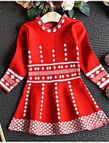 Недорогие -Дети (1-4 лет) Девочки Геометрический принт Длинный рукав Платье