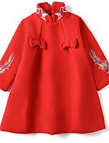 Недорогие -Дети (1-4 лет) Девочки Шинуазери (китайский стиль) Повседневные Животное Длинный рукав Платье Красный 110