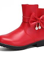 Недорогие -Девочки Обувь Кожа Зима Модная обувь Ботинки Бант для Дети / Для подростков Черный / Красный