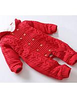 Недорогие -малыш Девочки Классический Повседневные Однотонный Длинный рукав Хлопок 1 предмет Красный 80 / Дети (1-4 лет)