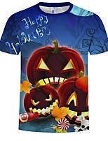 abordables -Inspiré par Cosplay Cosplay Manga Costumes de Cosplay Cosplay T-shirt Motif / Potiron / Halloween Manches Courtes Tee-shirt Pour Homme Déguisement d'Halloween