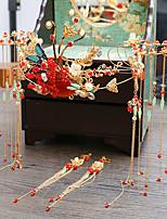 Недорогие -Жен. Красный Старинный Комплект ювелирных изделий - Жемчуг Гипсофила Этнический Включают Шпильки для волос Красный Назначение Свадьба Для вечеринок