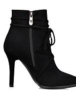 Недорогие -Жен. Замша / Микроволокно Лето Ботинки На шпильке Заостренный носок Ботинки Черный