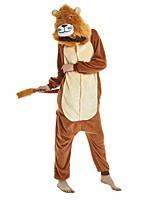 abordables -Adulte Pyjamas Kigurumi Lion Combinaison de Pyjamas Flanelle Café Cosplay Pour Homme et Femme Pyjamas Animale Dessin animé Fête / Célébration Les costumes