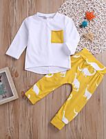 baratos -bebê Para Meninas Casual / Activo Diário / Feriado Sólido / Estampado Manga Longa Padrão Padrão Algodão / Elastano Conjunto Amarelo 100 / Bébé