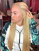 Недорогие -Синтетические кружевные передние парики Прямой Блондинка Средняя часть Искусственные волосы 22-26 дюймовый Жаропрочная / Женский / Прямой пробор Блондинка Парик Жен. Длинные Лента спереди Блондинка