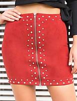 Недорогие -женские верхние юбки для коленного сустава - сплошной цвет