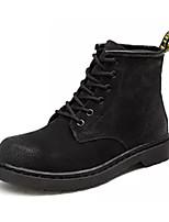 Недорогие -Жен. Замша Зима Ботинки На толстом каблуке Сапоги до середины икры Черный / Серый