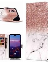Недорогие -Кейс для Назначение Huawei P20 Pro / P10 Lite Кошелек / Бумажник для карт / со стендом Чехол Мрамор Твердый Кожа PU для Huawei P20 / Huawei P20 Pro / Huawei P20 lite