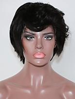 Недорогие -Не подвергавшиеся окрашиванию человеческие волосы Remy Лента спереди Парик Бразильские волосы Естественный прямой Парик Стрижка каскад Средняя часть Боковая часть 130% Плотность волос