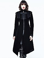 abordables -Cosplay Steampunk Costume Femme Manteau Noir Vintage Cosplay Polyester Manches Longues Bouffantes