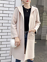 Недорогие -женский выход длинный пиджак - сплошной цвет с капюшоном