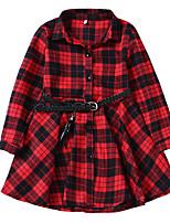 Недорогие -Дети Девочки Милая Рождество Гусиная лапка Длинный рукав Платье Черный 110