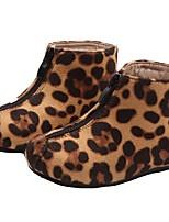 Недорогие -Девочки Обувь Замша Наступила зима Модная обувь Ботинки Молнии для Дети Черный / Цвет-леопард