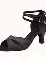 Недорогие -Жен. Обувь для латины Сатин Сандалии / На каблуках Пряжки Кубинский каблук Персонализируемая Танцевальная обувь Черный