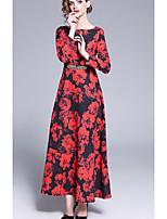abordables -Femme Elégant Maxi Abaya Robe Fleur Rouge L XL XXL Manches Longues / Sexy
