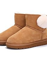Недорогие -Девочки Обувь Кожа Зима Зимние сапоги Ботинки Пом пом для Дети Черный / Верблюжий