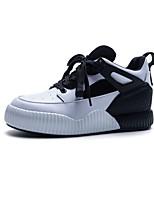 baratos -Mulheres Sapatos Confortáveis Pele Napa Primavera Tênis Sem Salto Ponta Redonda Preto / Rosa claro