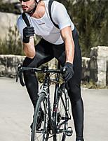 abordables -SANTIC Homme Cuissard Long de Cyclisme Vélo Collant à Bretelles / Corsaire Bretelles Pare-vent, Respirable, Garder au chaud Couleur Pleine Hiver Noir Tenues de Cyclisme / Elastique
