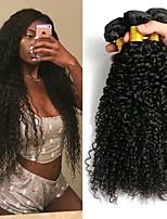 Недорогие -3 Связки Бразильские волосы Малазийские волосы Kinky Curly 8A Натуральные волосы Необработанные натуральные волосы Подарки Косплей Костюмы Головные уборы 8-28 дюймовый Естественный цвет
