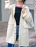 Недорогие -Жен. Повседневные Классический Длинная Джинсовая куртка, Однотонный Отложной Длинный рукав Полиэстер Черный / Светло-зеленый / Хаки S / M / L