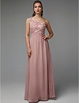 baratos -Linha A Assimétrico Longo Chiffon / Renda Evento Formal Vestido com Pregas / Aplicação de renda de TS Couture®