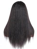 billiga -Äkta hår Spetsfront Peruk Brasilianskt hår Yaki Rakt Peruk Deep Parting 130% Hårtäthet med babyhår Gåva Heta Försäljning Bekväm Naturlig Dam Lång Äkta peruker med hätta Dolago