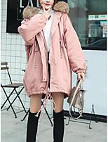 Недорогие -Жен. На выход Однотонный Длинная На подкладке, Полиэстер Длинный рукав Капюшон Черный / Розовый / Темно-серый M / L / XL / Свободный силуэт